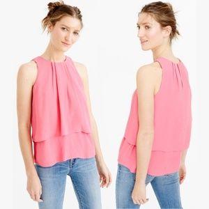 J. CREW Tiered Crepe Sleeveless Top Pink